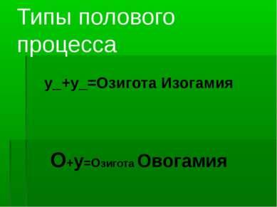 Типы полового процесса у_+у_=Озигота Изогамия О+у=Озигота Овогамия