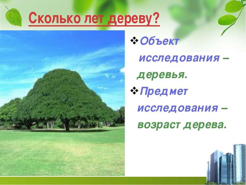 Сколько лет дереву? Объект исследования – деревья. Предмет исследования – воз...