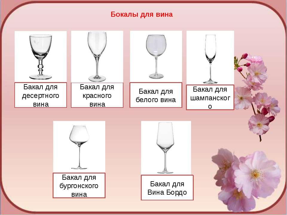 Бокалы для вина Бакал для десертного вина Бакал для красного вина Бакал для б...