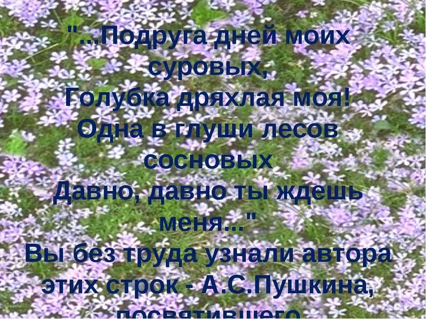 """""""...Подруга дней моих суровых, Голубка дряхлая моя! Одна в глуши лесов соснов..."""