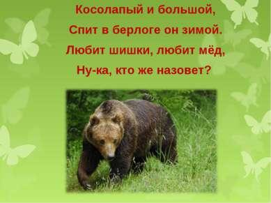 Косолапый и большой, Спит в берлоге он зимой. Любит шишки, любит мёд, Ну-ка, ...