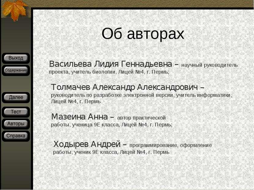 Об авторах Васильева Лидия Геннадьевна – научный руководитель проекта, учител...