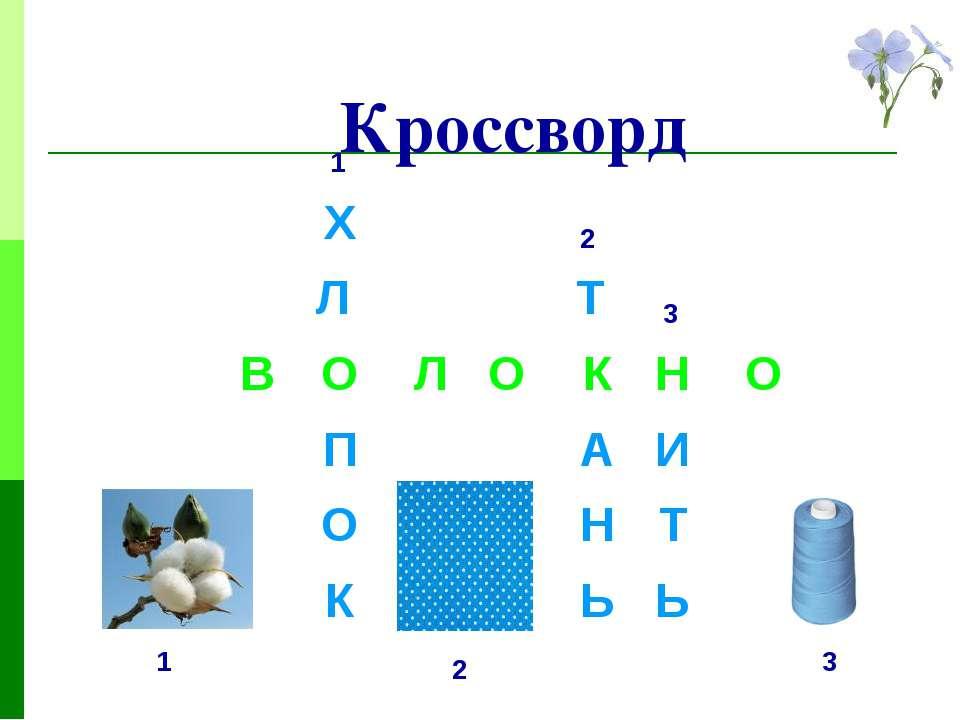 Кроссворд 1 2 3 1 2 3 Х О Л А К Н Л П К О Т Н Ь И Т Ь В О О