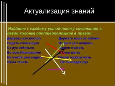 Актуализация знаний Найдите к каждому устойчивому сочетанию в левой колонке п...