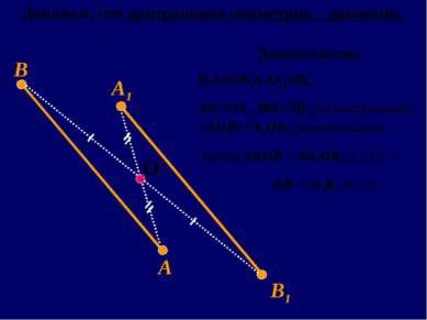 А1 В1 О А В Докажем, что центральная симметрия – движение. Доказательство. В ...