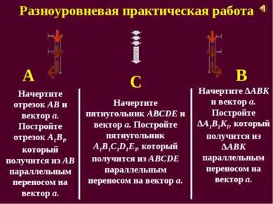 Разноуровневая практическая работа А С В Начертите отрезок АВ и вектор a. Пос...