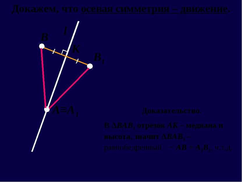 l А≡А1 В В1 К Докажем, что осевая симметрия – движение. Доказательство. В ΔВА...