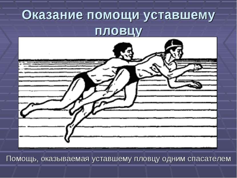 Оказание помощи уставшему пловцу Помощь, оказываемая уставшему пловцу одним с...