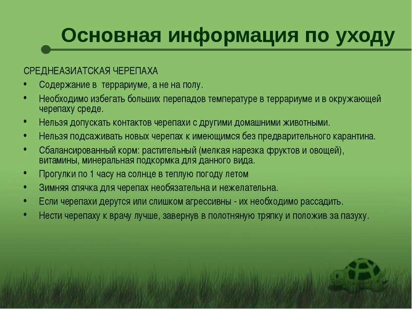 Основная информация по уходу СРЕДНЕАЗИАТСКАЯ ЧЕРЕПАХА Содержание в террариуме...
