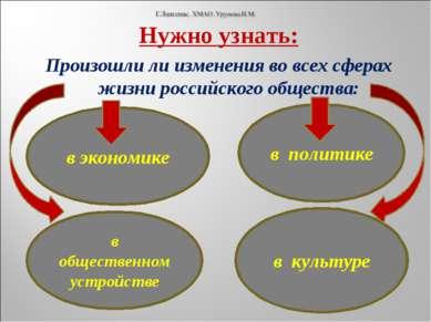 Нужно узнать: Произошли ли изменения во всех сферах жизни российского обществ...