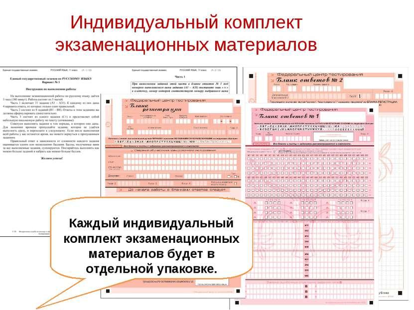Индивидуальный комплект экзаменационных материалов Каждый индивидуальный комп...