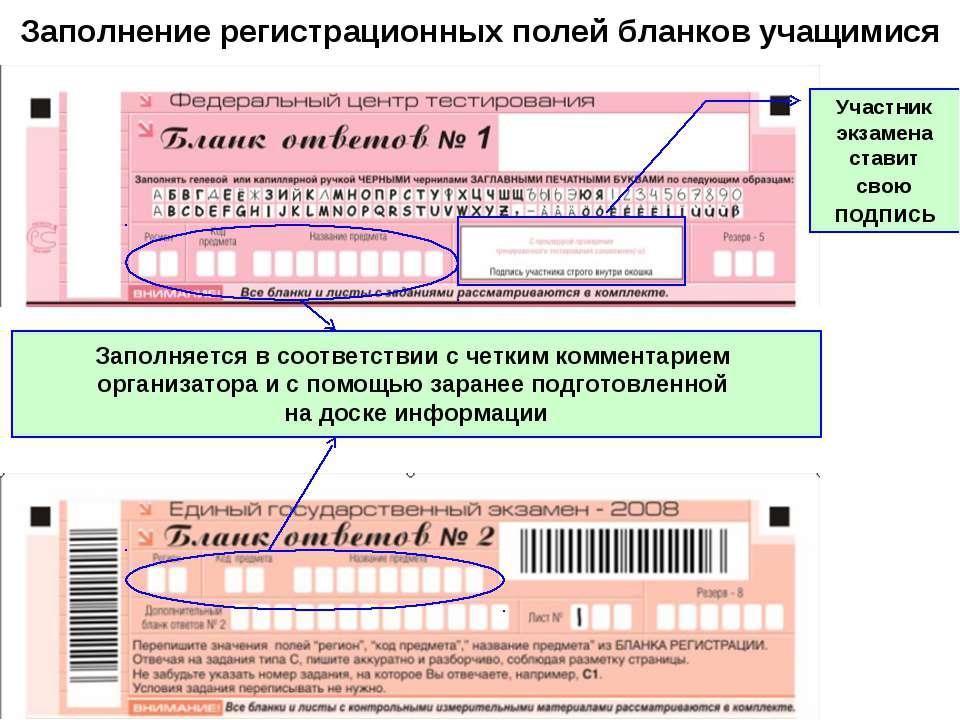 Заполнение регистрационных полей бланков учащимися Заполняется в соответствии...