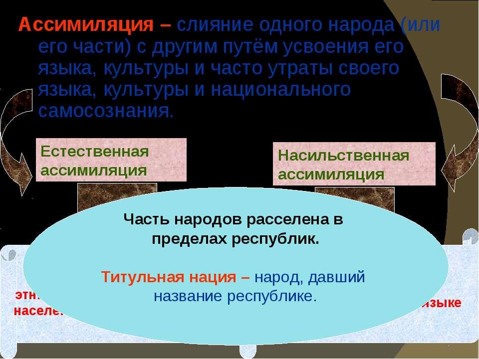 Ассимиляция – слияние одного народа (или его части) с другим путём усвоения е...