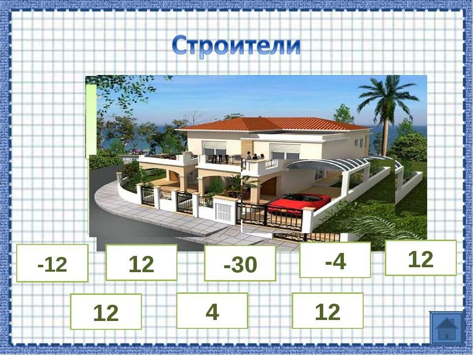 14-26 - 7 – (-11) 24: (-6) 15∙ (-2) -12 12 12 -30 -4 12 4 12