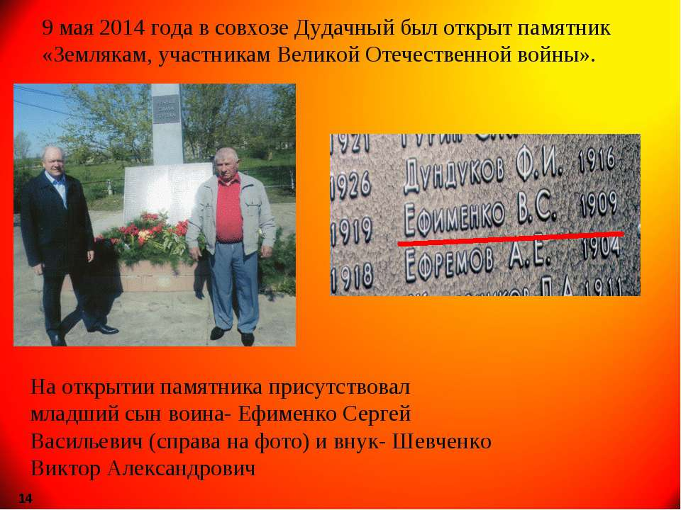 9 мая 2014 года в совхозе Дудачный был открыт памятник «Землякам, участникам ...
