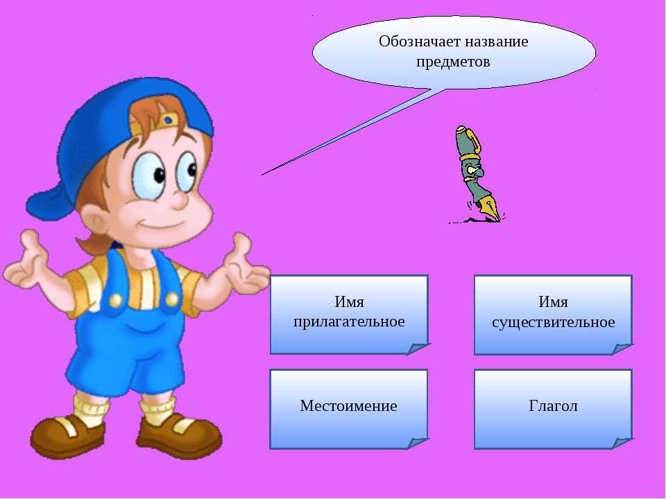 Обозначает название предметов Имя существительное Имя прилагательное Глагол М...