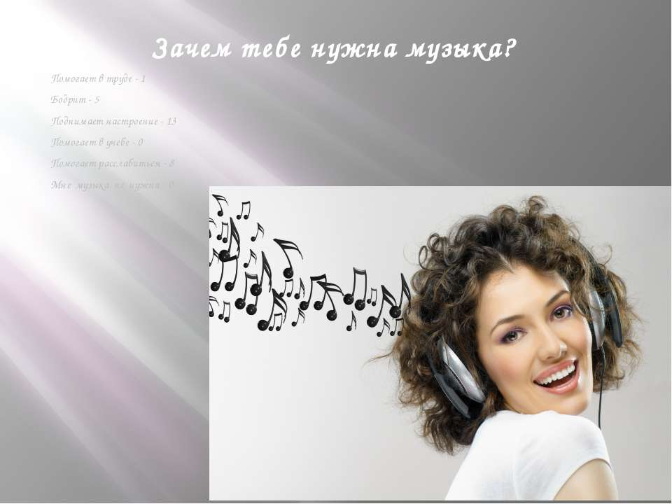 Зачем тебе нужна музыка? Помогает в труде - 1 Бодрит - 5 Поднимает настроение...