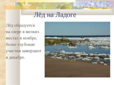 Лёд на Ладоге Лёд образуется на озере в мелких местах в ноябре, более глубоки...