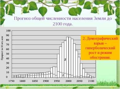 Прогноз общей численности населения Земли до 2100 года. 2. Демографический вз...