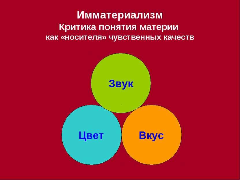 Имматериализм Критика понятия материи как «носителя» чувственных качеств Цвет...
