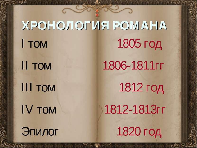 ХРОНОЛОГИЯ РОМАНА I том 1805 год II том 1806-1811гг III том 1812 год IV том 1...