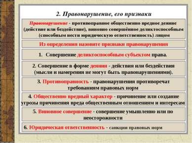 2. Правонарушение, его признаки Правонарушение - противоправное общественно в...