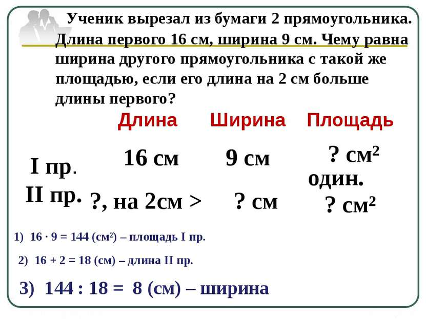 Ученик вырезал из бумаги 2 прямоугольника. Длина первого 16 см, ширина 9 см. ...