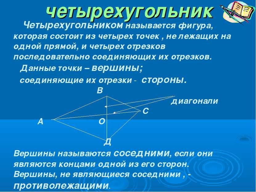 четырехугольник Четырехугольником называется фигура, которая состоит из четыр...