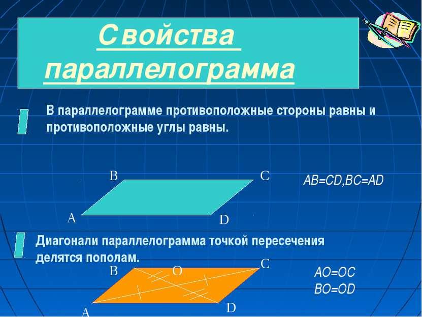 Свойства параллелограмма В параллелограмме противоположные стороны равны и пр...