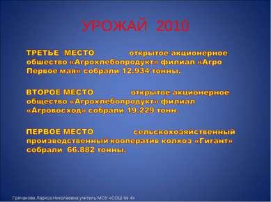 УРОЖАЙ 2010 Гречанова Лариса Николаевна учитель МОУ «СОШ № 4»