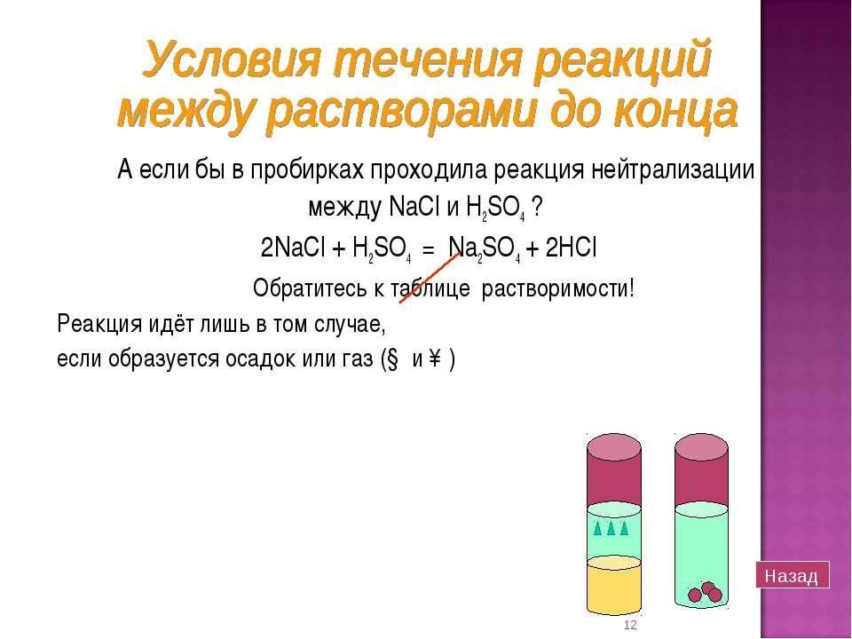 А если бы в пробирках проходила реакция нейтрализации между NaCl и H2SO4 ? 2N...
