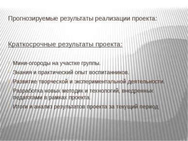 Прогнозируемые результаты реализации проекта: Краткосрочные результаты проект...