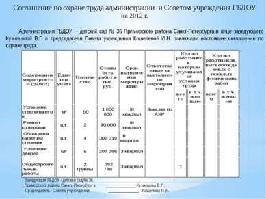 Соглашение по охране труда администрации и Советом учреждения ГБДОУ на 2012 г...