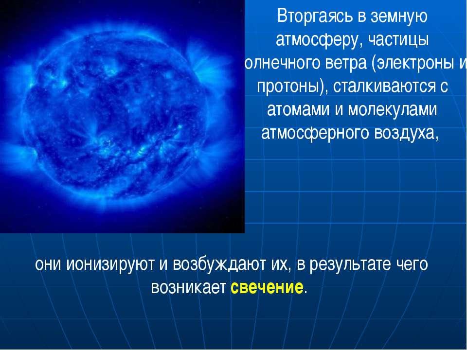 Вторгаясь в земную атмосферу, частицы солнечного ветра (электроны и протоны),...