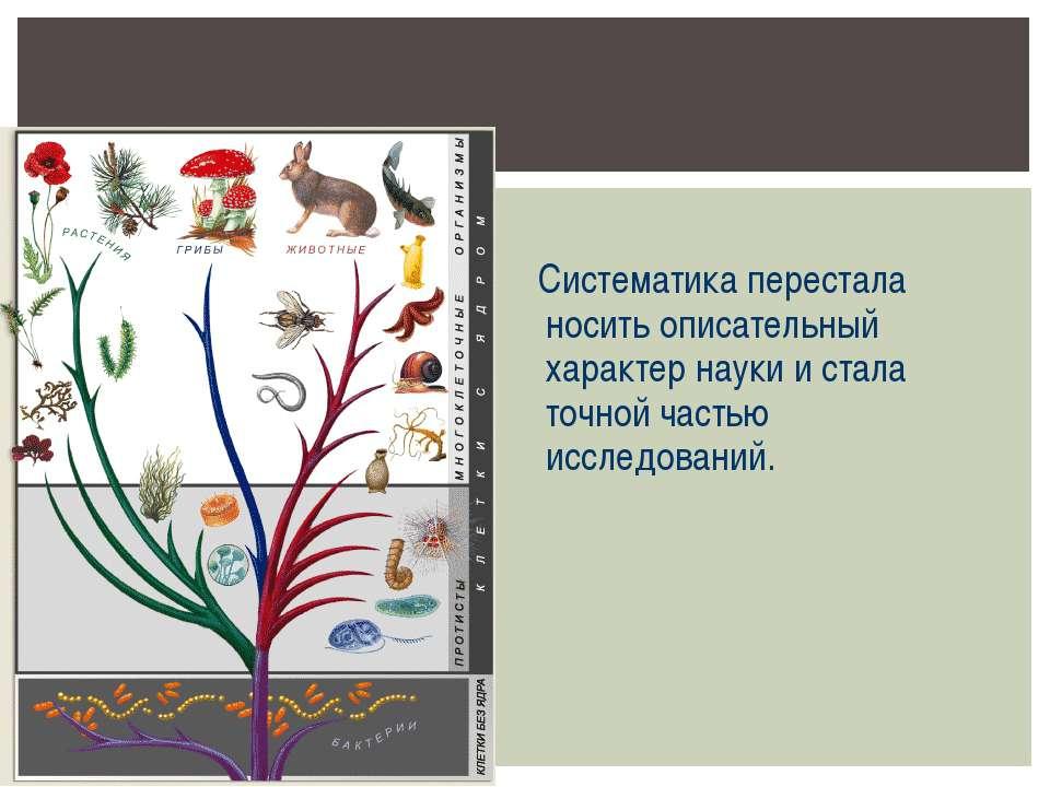 Систематика перестала носить описательный характер науки и стала точной часть...