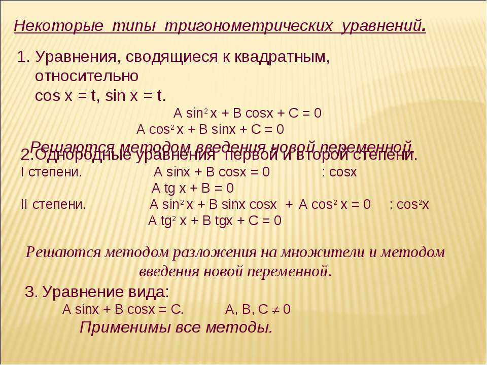 Некоторые типы тригонометрических уравнений. Уравнения, сводящиеся к квадратн...