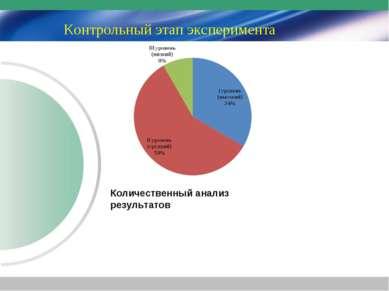 Контрольный этап эксперимента Количественный анализ результатов