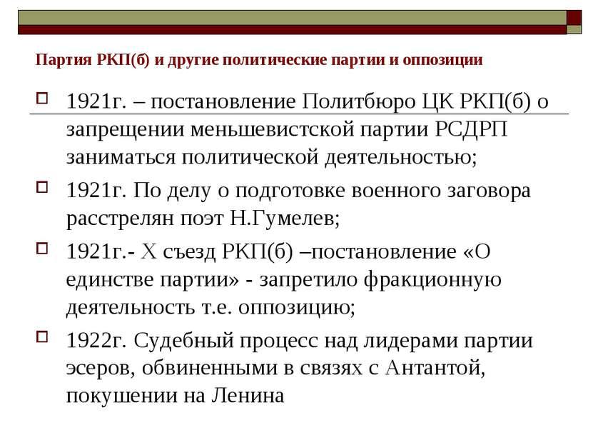 Партия РКП(б) и другие политические партии и оппозиции 1921г. – постановление...
