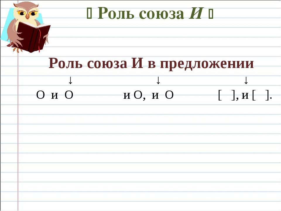 Роль союза И Роль союза И в предложении ↓ ↓ ↓ O и O и O, и O [ ], и [ ].