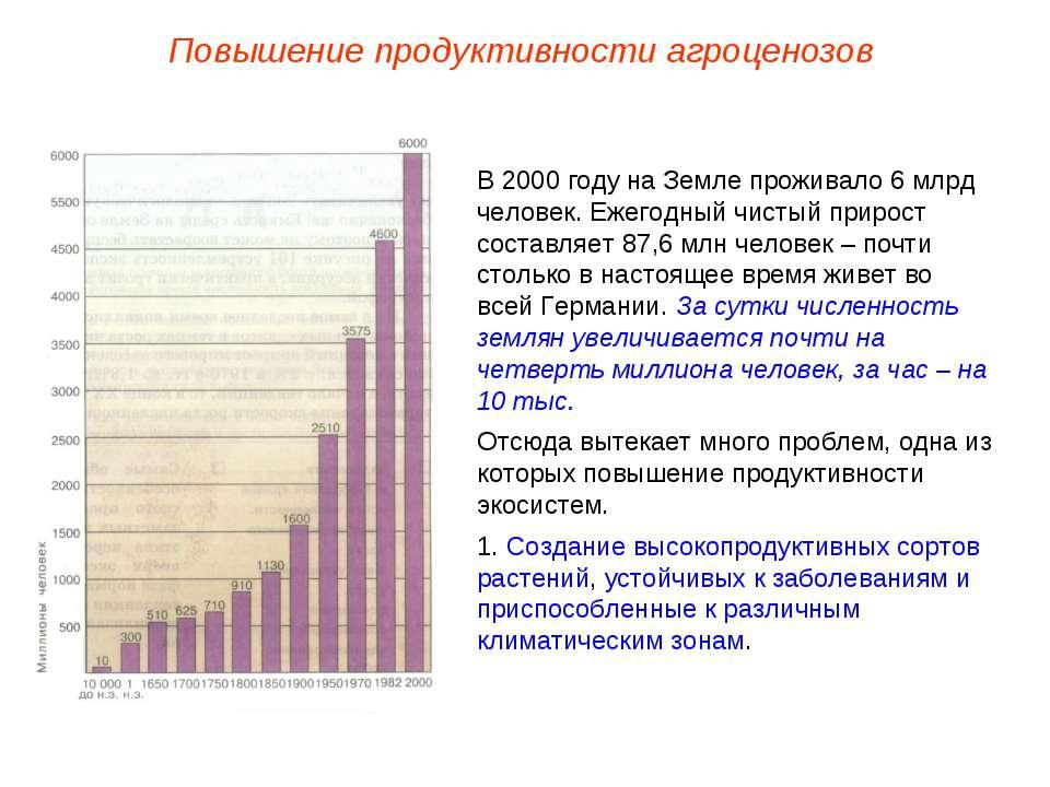 Повышение продуктивности агроценозов В 2000 году на Земле проживало 6 млрд че...