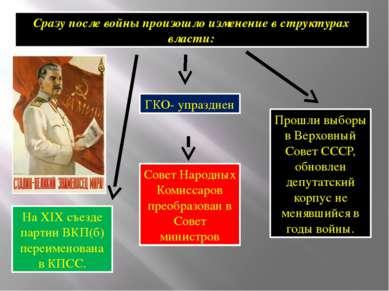 Сразу после войны произошло изменение в структурах власти: ГКО- упразднен Сов...