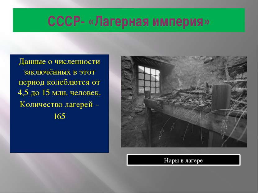 СССР- «Лагерная империя» Данные о численности заключённых в этот период колеб...