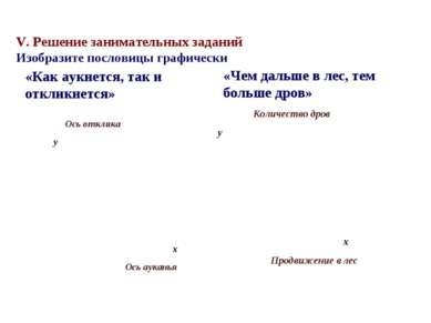 V. Решение занимательных заданий Изобразите пословицы графически «Как аукнетс...