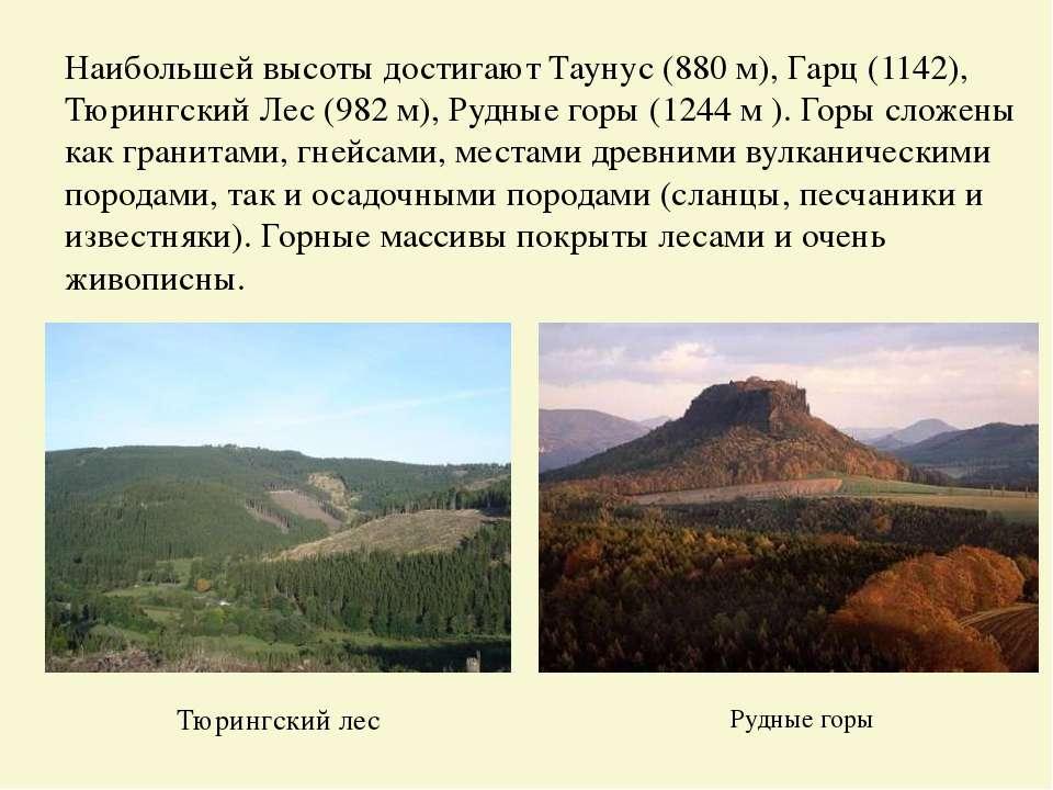 Наибольшей высоты достигают Таунус (880 м), Гарц (1142), Тюрингский Лес (982 ...