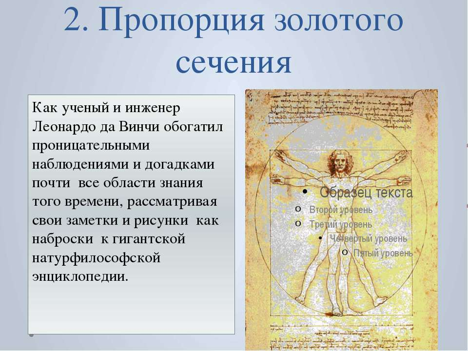 2. Пропорция золотого сечения Как ученый и инженер Леонардо да Винчи обогатил...
