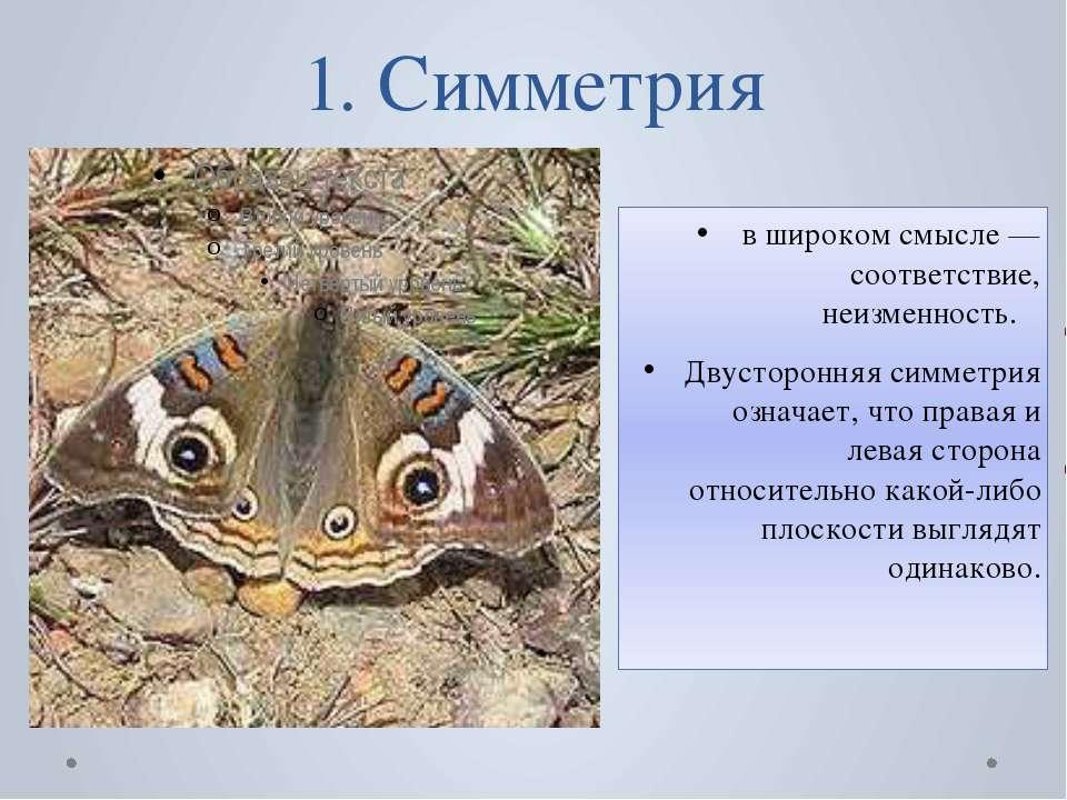 1. Симметрия в широком смысле — соответствие, неизменность. Двусторонняя симм...
