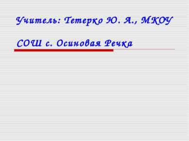 Учитель: Тетерко Ю. А., МКОУ СОШ с. Осиновая Речка
