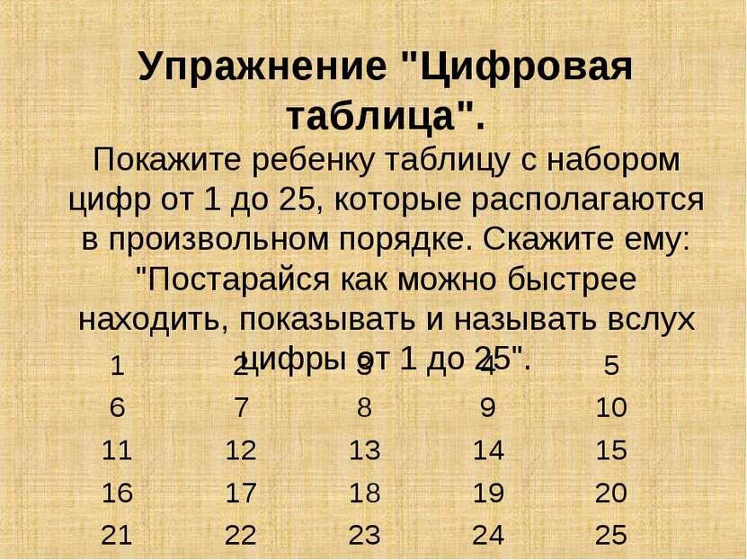 "Упражнение ""Цифровая таблица"". Покажите ребенку таблицу с набором цифр от 1 д..."