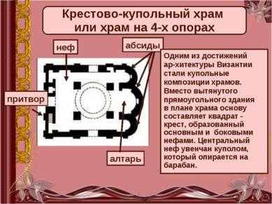 Крестово-купольный храм или храм на 4-х опорах неф абсиды притвор алтарь Одни...