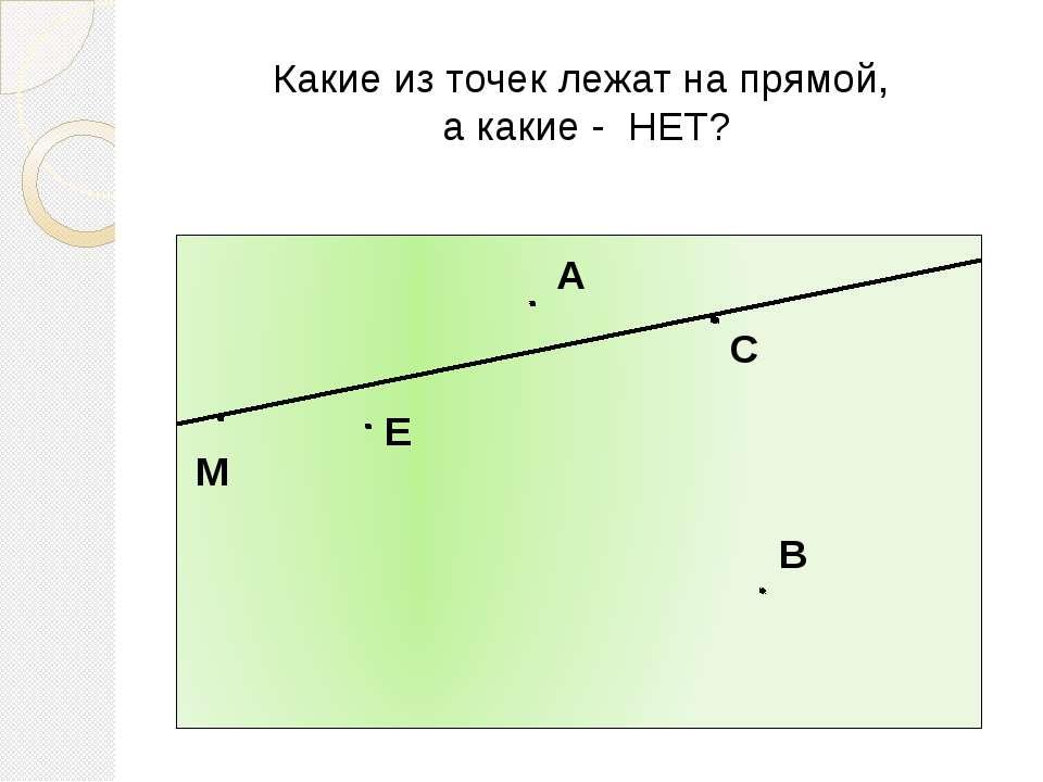 Какие из точек лежат на прямой, а какие - НЕТ? М А С В Е
